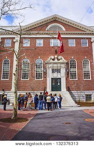 Lehman Hall And Tourists In Harvard University In Cambridge