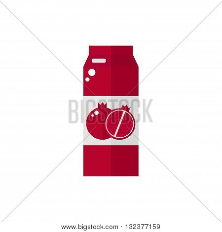 Pack of juice. Pomegranate pack of juice icon isolated on white background. Fresh pomegranate juice. Flat style vector illustration.