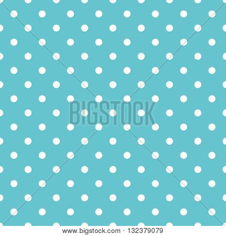 Tile pastel vector pattern with white polka dots on mint green background