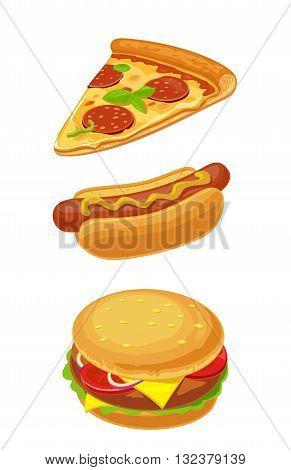 Hamburger pizza hotdog. Set fast food. Vector isolated flat illustration for poster menus brochure web and icon.