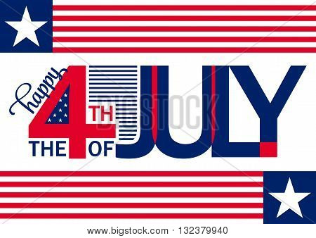 Happy Independence Day horizontal backgron - July 4th - Fourth of July Vector - Memorial Day - Flag Day - Patriotic poster