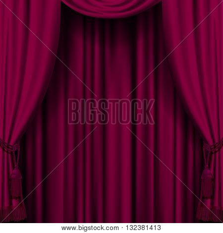 Dark red curtain. Retro artistic cherry-colored background. Artistic poster