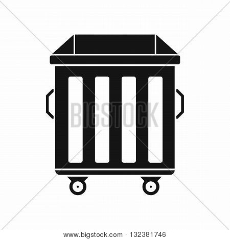 Dumpster on wheels icon in simple style isolated on white background