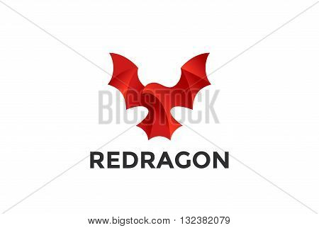Flying Red Dragon Logo abstract design vector Reptile Bat icon