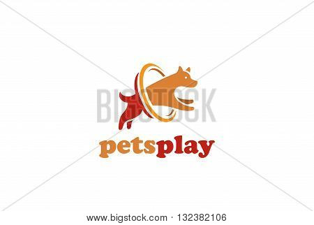 Dog jumping Logo design vector. Home pets veterinary clinic icon
