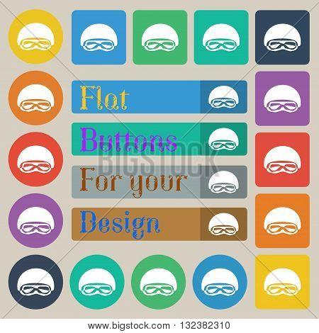 In A Ski Masks, Snowboard Ski Goggles, Diving Mask Icon Sign. Set Of Twenty Colored Flat, Round, Squ
