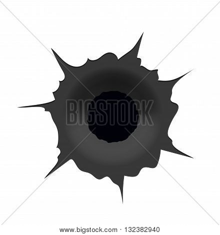 Vector modern bullet hole on white background. Eps10