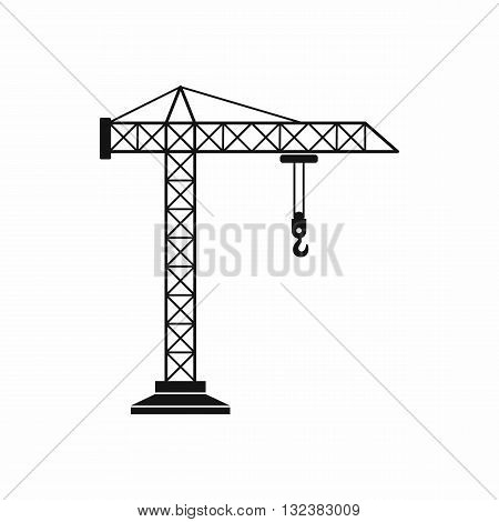 Construction crane icon in simple style isolated on white background