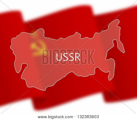 Stylized outline map of Union of Soviet Socialist Republics on national flag background. Inscription USSR over the image