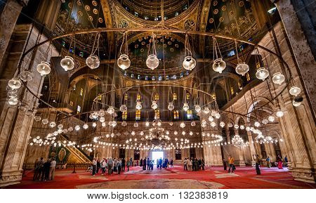 CAIRO EGYPT - NOVEMBER 18 2011: Interior of Mohammed Ali Mosque in Cairo Egypt.