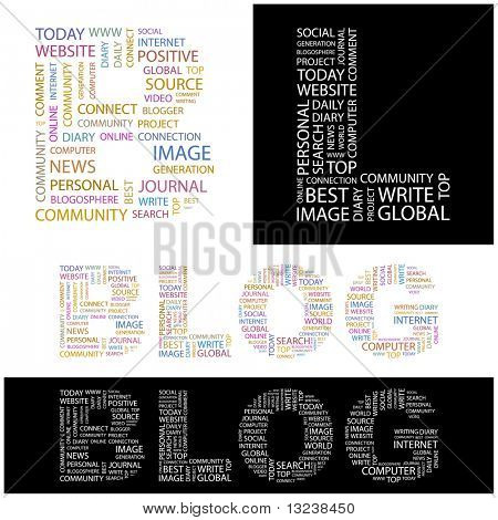 BLOG. Word collage. Illustration with different association terms.