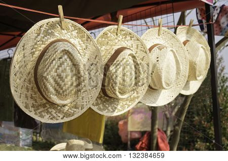 Bamboo hat Thailand traditional way of comfort not hot