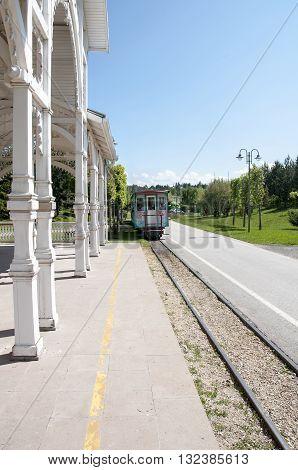 Old train station platform in the city of Eskisehir, Turkey