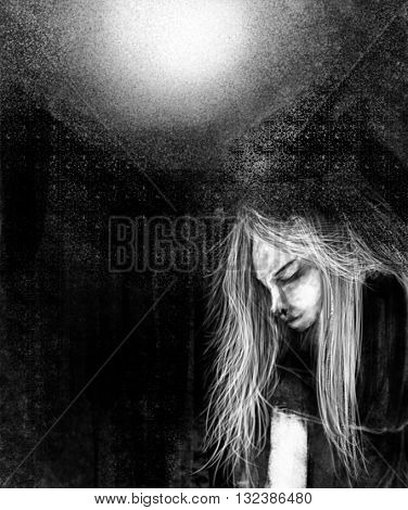 Black and White Digital Painting of Girl Shrouded in Darkness