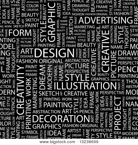 DESIGN. Seamless vector pattern with word cloud. Illustration with different association terms.
