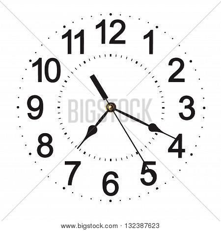 Wall clock isolated on white background. Twenty past seven