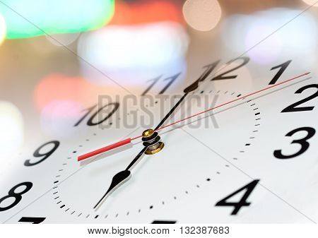 clock background. Clock face with focus on center. Time concept.