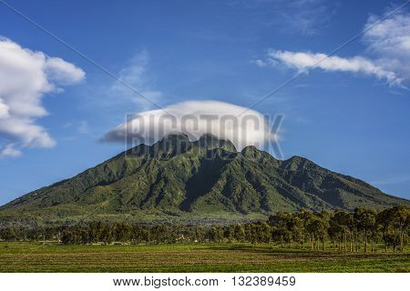 View of Sabyinyo Mountain Rwanda. Vide angle view of Sabyinyo Mountain. Volcanoes National Park Rwanda. Top of the mountain is get cloudy. The sky is blue with clouds. It's a spring daylight. There are greensward and trees at forefront. The mountain at at