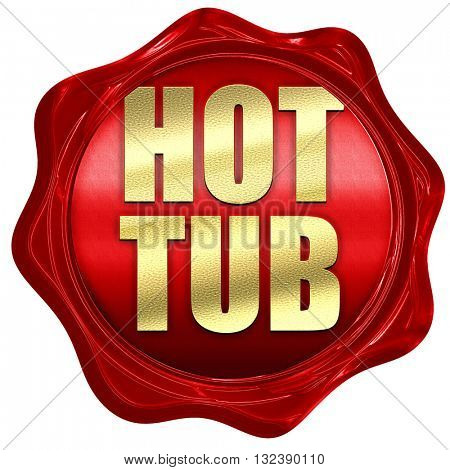 hot tub, 3D rendering, a red wax seal