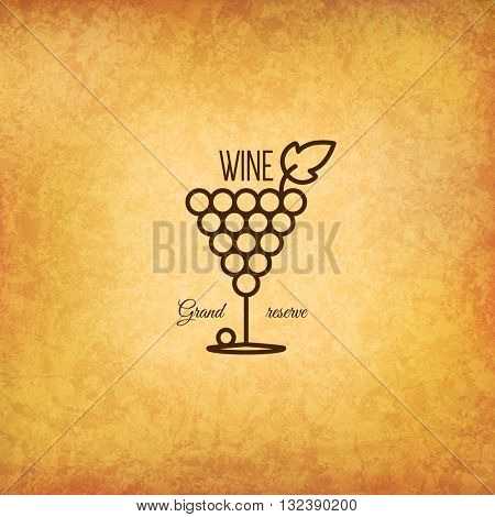Vintage logotype for winery, vineyard, wine shop, wine list. Food and drinks logotype symbol design. Crumpled vintage paper background