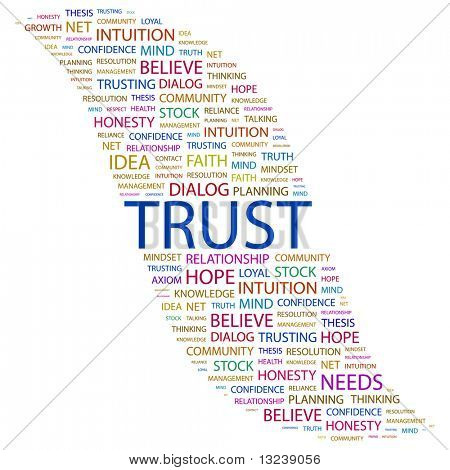 TRUST. Word collage on white background. Vector illustration.