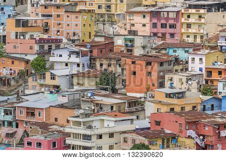 Detail view of picturesque colored poor houses at the top of a hill at Cerro Santa Ana in Guayaquil Ecuador.