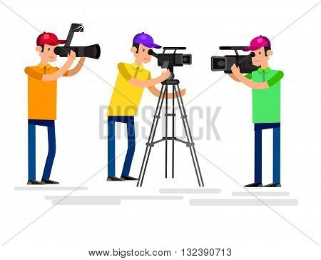 cool detailed character Photographer and videographer with camera photographs. Vector Photographer and videographer . Illustration Photographer and videographer set