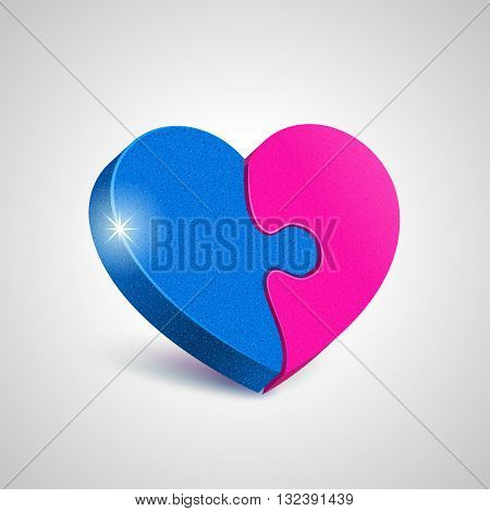 Two combined together puzzle elements form a whole heart. Harmony in love concept