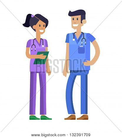 Vector detailed nurse character man, woman and nurse. Medical nurse team isolated on white background, nurse team. Vector illustration nurse. Funny character nurse.