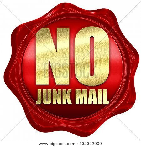 no junk mail, 3D rendering, a red wax seal