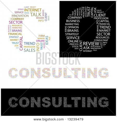 CONSULTING. Word collage.  Illustration with different association terms.