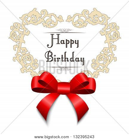 Illustration of Template frame design with red bow for happy birthday