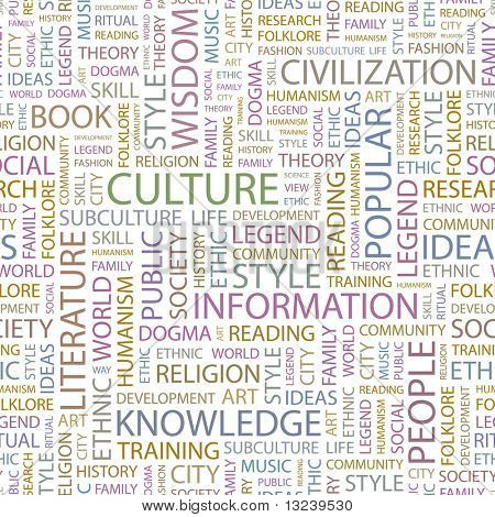 CULTURE. Seamless vector pattern with word cloud. Illustration with different association terms.