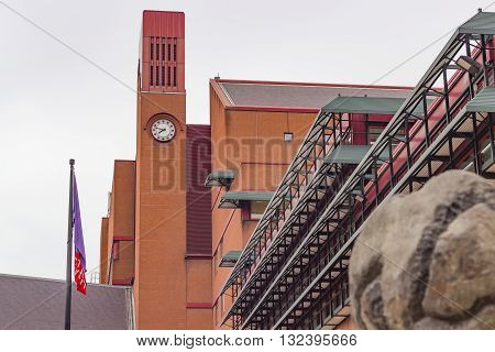 London England - May 19 2016: The clocktower of the British Library in London England.