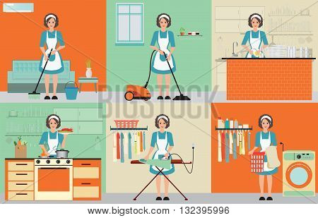 Lady set of housewife cleaning ironing cooking and washing with equipment working at home woman housewife set character vector illustration.