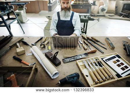 Carpenter Craftsmanship Carpentry Handicraft Wooden Workshop Concept