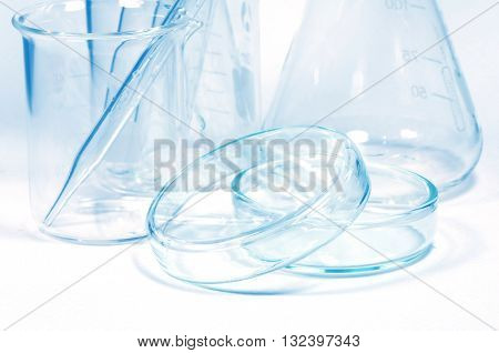 Laboratory Glassware. Chemistry Laboratory Glassware in Blue Tone.