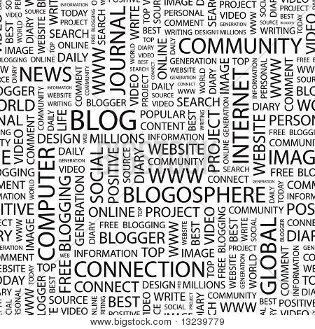 BLOG. Seamless vector pattern with word cloud. Illustration with different association terms.