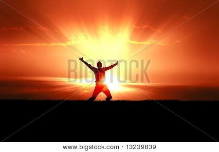 Man Jumping in Sun Rays