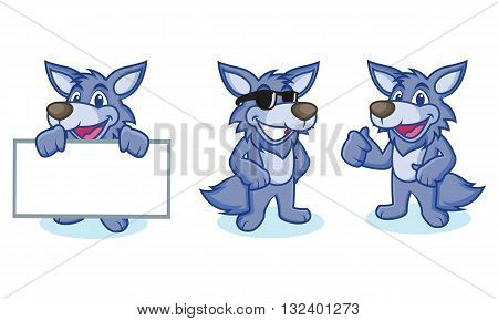 Wolf Mascot Vector happy ppose and bring board