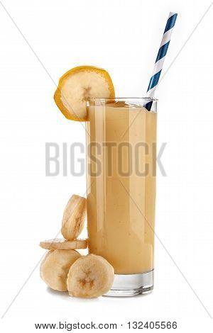 Smoothie banana juice isolated on a white background