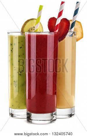 Smoothie banana kiwi and strawberry juice isolated on a white background