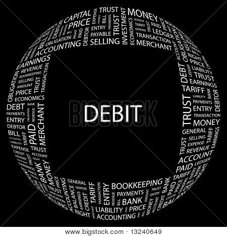 DEBIT. Word collage on black background. Illustration with different association terms.