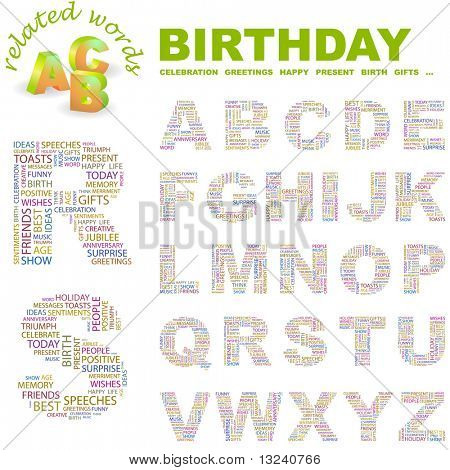 BIRTHDAY. Vector letter collection. Illustration with different association terms.