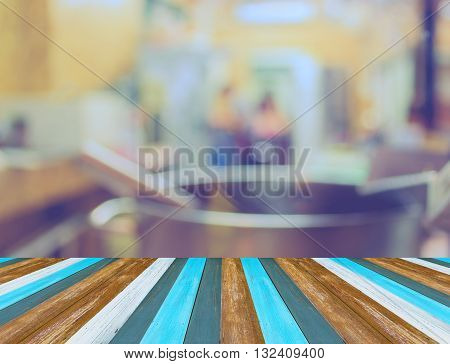 Image Of Blur Kitchen With Vintage Tone