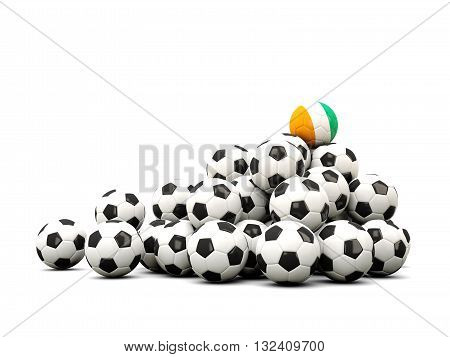 Pile Of Soccer Balls With Flag Of Cote D Ivoire