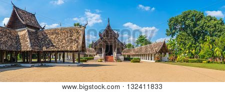 panorama shot of Wat Ton Kain Old temple made from wood in Chiang Mai Thailand.