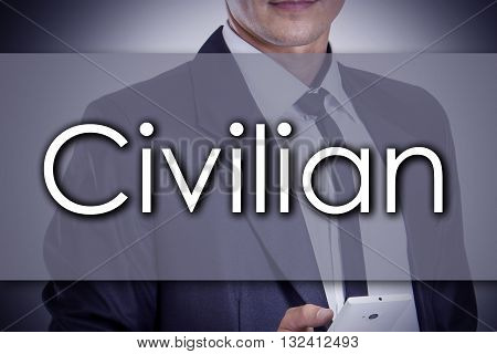 Civilian - Young Businessman With Text - Business Concept