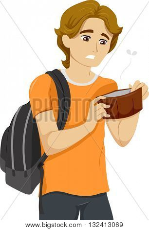 Illustration of a Teenage Boy with an Empty Wallet