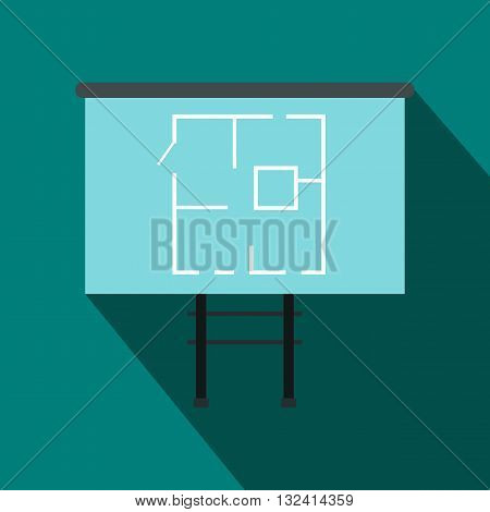 Project of house on a board icon in flat style on a blue background